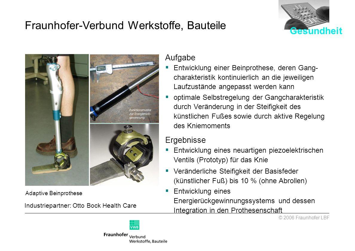 Aufgabe Entwicklung einer Beinprothese, deren Gang- charakteristik kontinuierlich an die jeweiligen Laufzustände angepasst werden kann optimale Selbst