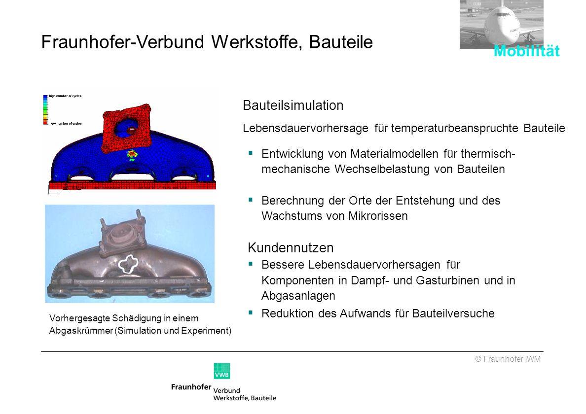 Vorhergesagte Schädigung in einem Abgaskrümmer (Simulation und Experiment) Fraunhofer-Verbund Werkstoffe, Bauteile Bauteilsimulation Lebensdauervorher