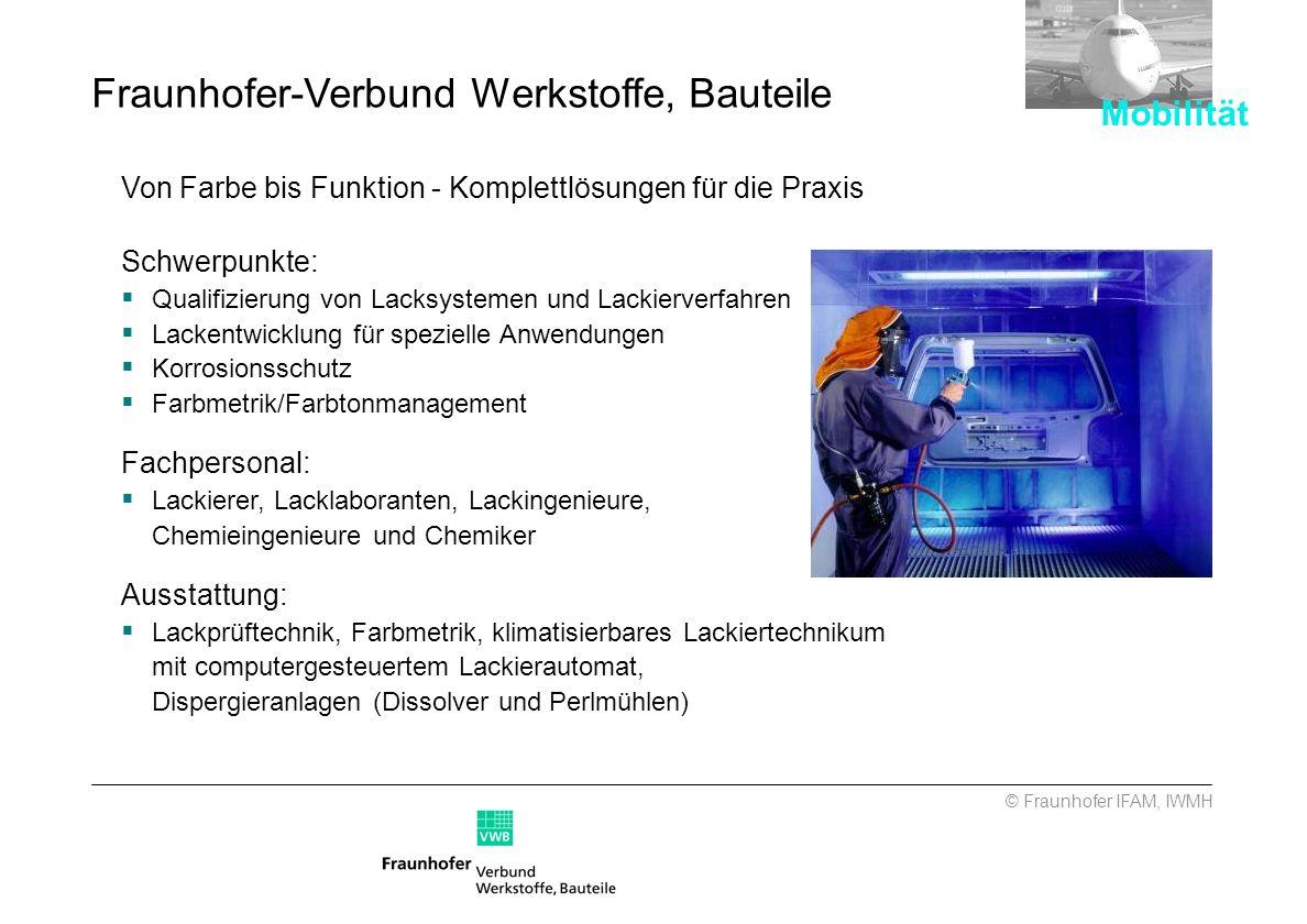 © Fraunhofer IFAM, IWMH Von Farbe bis Funktion - Komplettlösungen für die Praxis Schwerpunkte: Qualifizierung von Lacksystemen und Lackierverfahren La