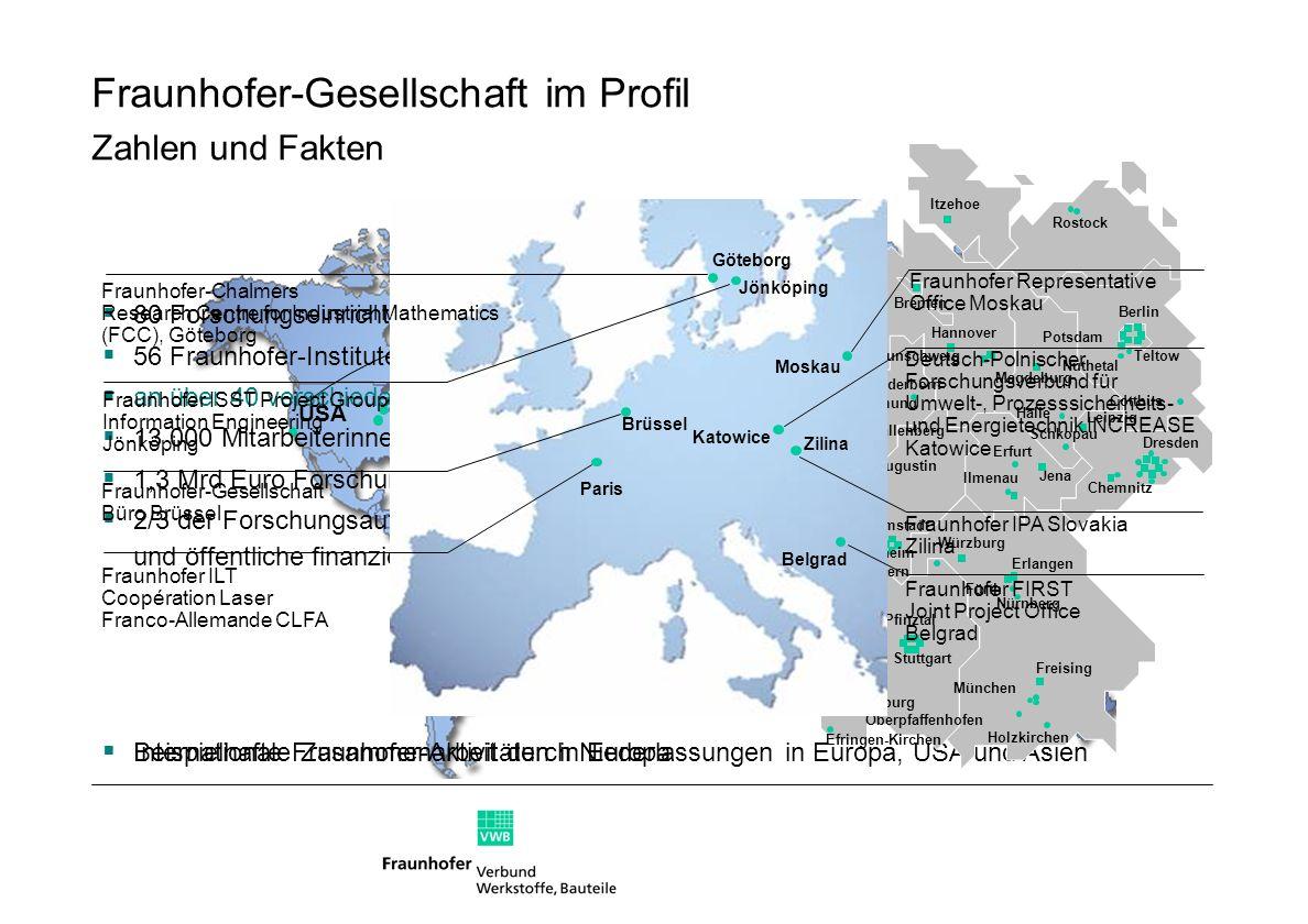 … von Werkstoffen, Bauteilen und Systemen Einsatz- verhalten … in Bezug auf Betriebsfestigkeit zerstörfreie Prüfung (ZFP) Fraunhofer-Verbund Werkstoffe, Bauteile