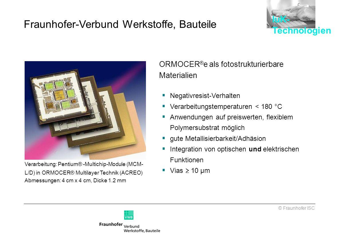 Verarbeitung: Pentium® -Multichip-Module (MCM- L/D) in ORMOCER® Multilayer Technik (ACREO) Abmessungen: 4 cm x 4 cm, Dicke 1.2 mm ORMOCER ® e als foto