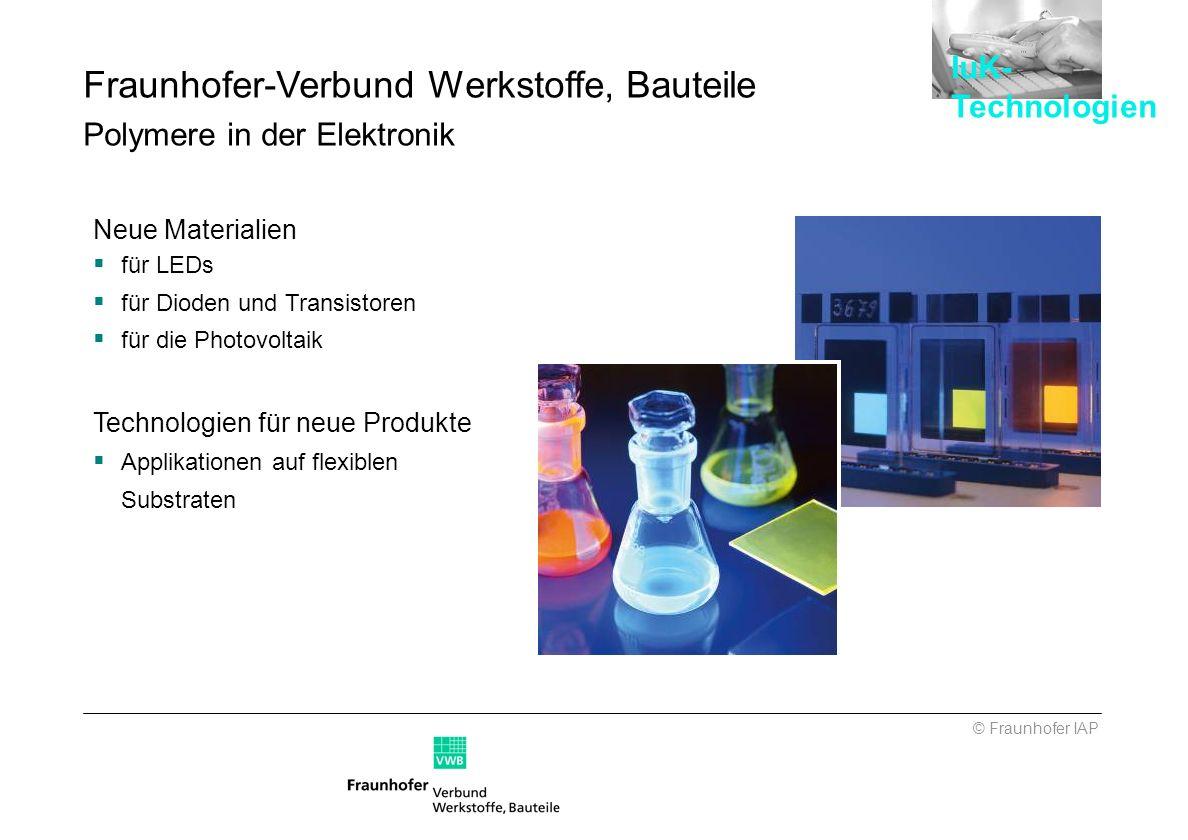 Neue Materialien für LEDs für Dioden und Transistoren für die Photovoltaik Technologien für neue Produkte Applikationen auf flexiblen Substraten © Fra