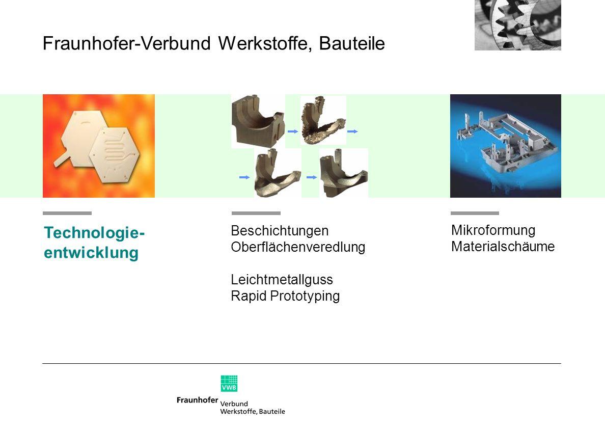 Beschichtungen Oberflächenveredlung Leichtmetallguss Rapid Prototyping Technologie- entwicklung Mikroformung Materialschäume Fraunhofer-Verbund Werkst