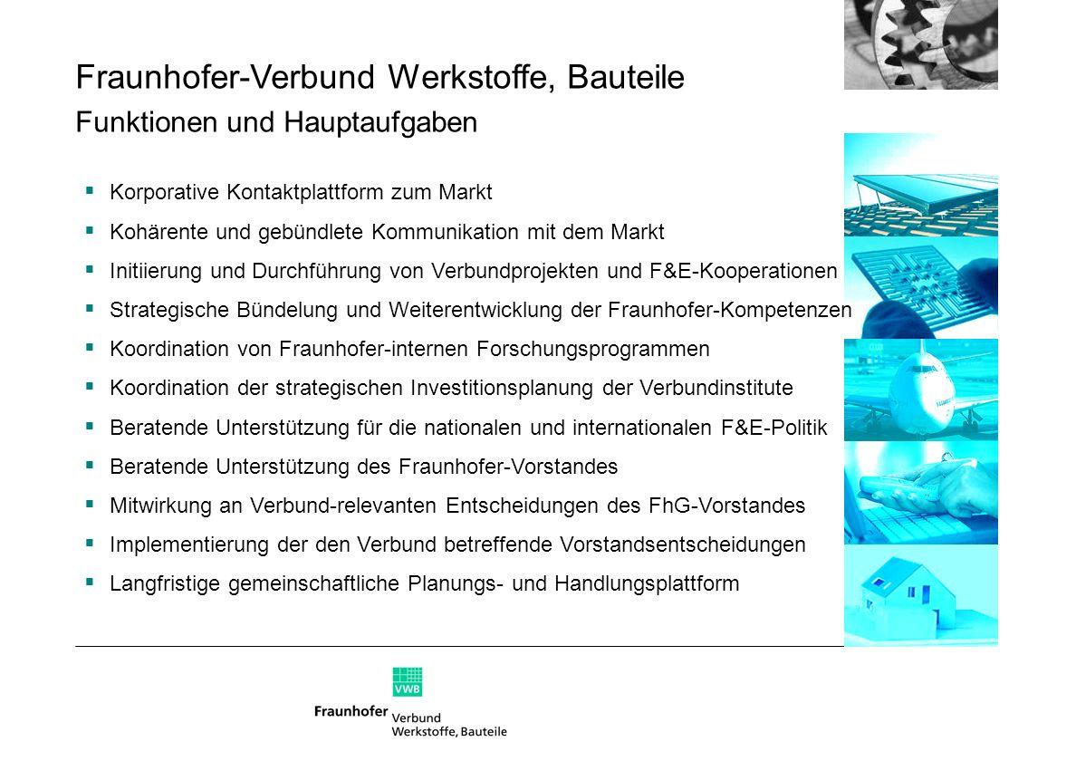 Fraunhofer-Verbund Werkstoffe, Bauteile Funktionen und Hauptaufgaben Korporative Kontaktplattform zum Markt Kohärente und gebündlete Kommunikation mit