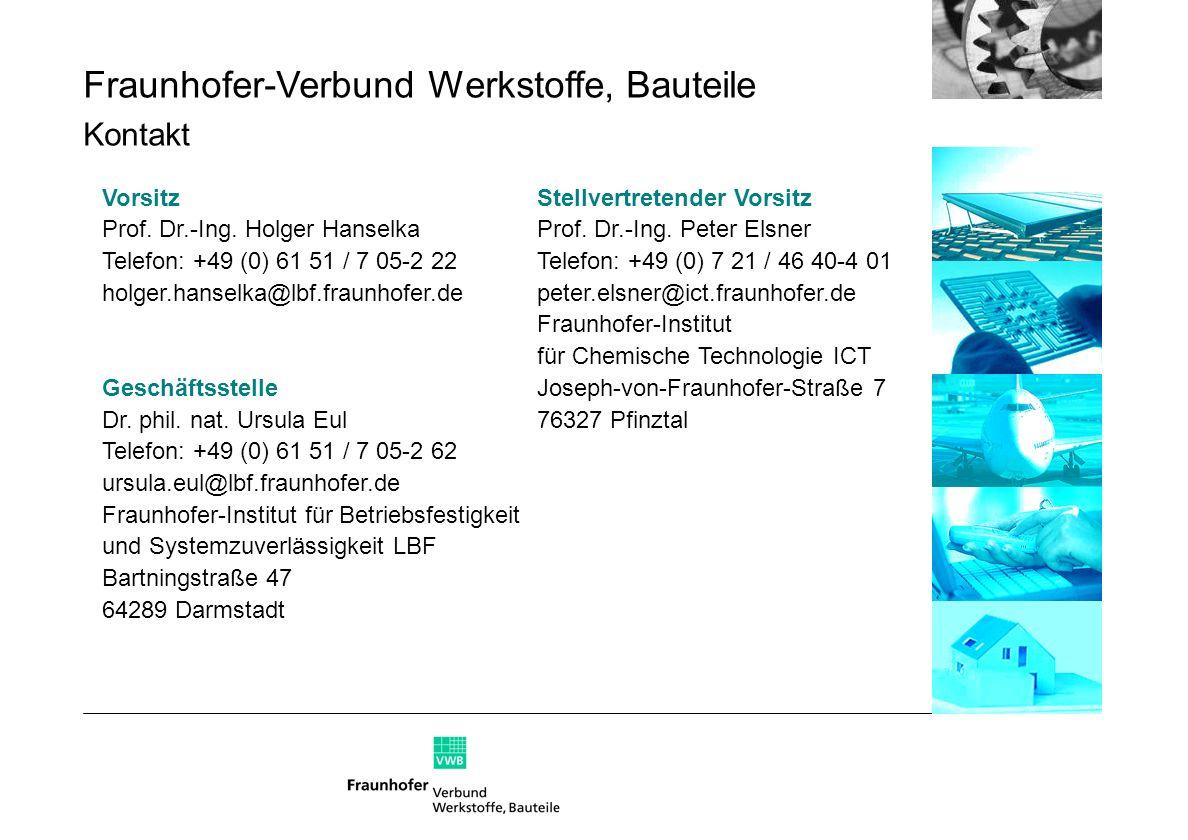 Stellvertretender Vorsitz Prof. Dr.-Ing. Peter Elsner Telefon: +49 (0) 7 21 / 46 40-4 01 peter.elsner@ict.fraunhofer.de Fraunhofer-Institut für Chemis