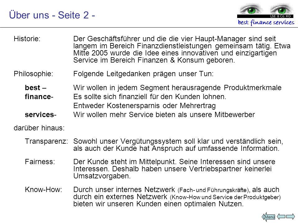 Produktsegmente VersicherungenFinanzierungenKapitalanlagenDienstleistungenImmobilien Subdomain: cura.bfsKG.decura.bfsKG.de credit.bfsKG.de cash.bfsKG.de sell.bfsKG.de home.bfsKG.decredit.bfsKG.decash.bfsKG.desell.bfsKG.dehome.bfsKG.deLeistung/Beschreibung: Vermittlung von Versicherungen aller Art für Privat und Gewerbe Ausschließlich tätig für unseren Partner: Die Continentale Bezirksdirektion in Schwandorf Wir regulieren Schäden bis 3.500 vor Ort.