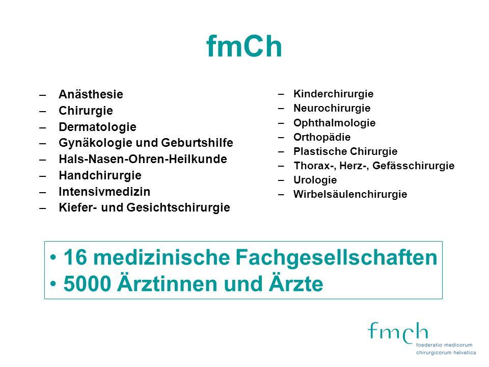 Mission Statement der fmCh Die fmCh vertritt die Grundwerte des Arztberufes und die Interessen der chirurgisch und invasiv tätigen Ärzte.