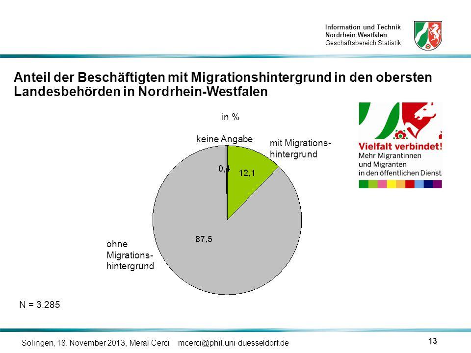 Information und Technik Nordrhein-Westfalen Geschäftsbereich Statistik Solingen, 18. November 2013, Meral Cerci mcerci@phil.uni-duesseldorf.de 13 mit