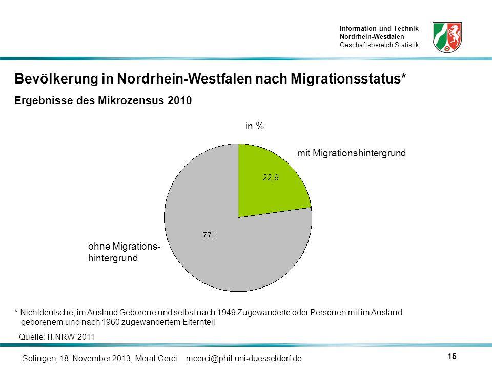 Information und Technik Nordrhein-Westfalen Geschäftsbereich Statistik Solingen, 18. November 2013, Meral Cerci mcerci@phil.uni-duesseldorf.de 15 in %