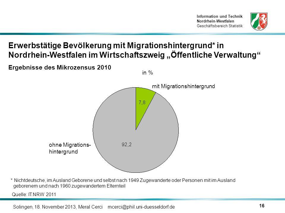 Information und Technik Nordrhein-Westfalen Geschäftsbereich Statistik Solingen, 18. November 2013, Meral Cerci mcerci@phil.uni-duesseldorf.de 16 in %