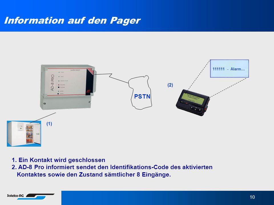 10 Information auf den Pager 111111 - Alarm… 1. Ein Kontakt wird geschlossen 2. AD-8 Pro informiert sendet den Identifikations-Code des aktivierten Ko