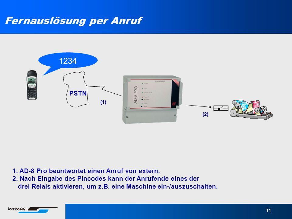 11 1. AD-8 Pro beantwortet einen Anruf von extern. 2. Nach Eingabe des Pincodes kann der Anrufende eines der drei Relais aktivieren, um z.B. eine Masc
