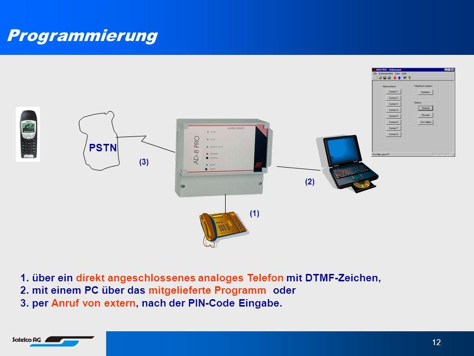 12 Programmierung 1. über ein direkt angeschlossenes analoges Telefon mit DTMF-Zeichen, 2. mit einem PC über das mitgelieferte Programm, oder 3. per A