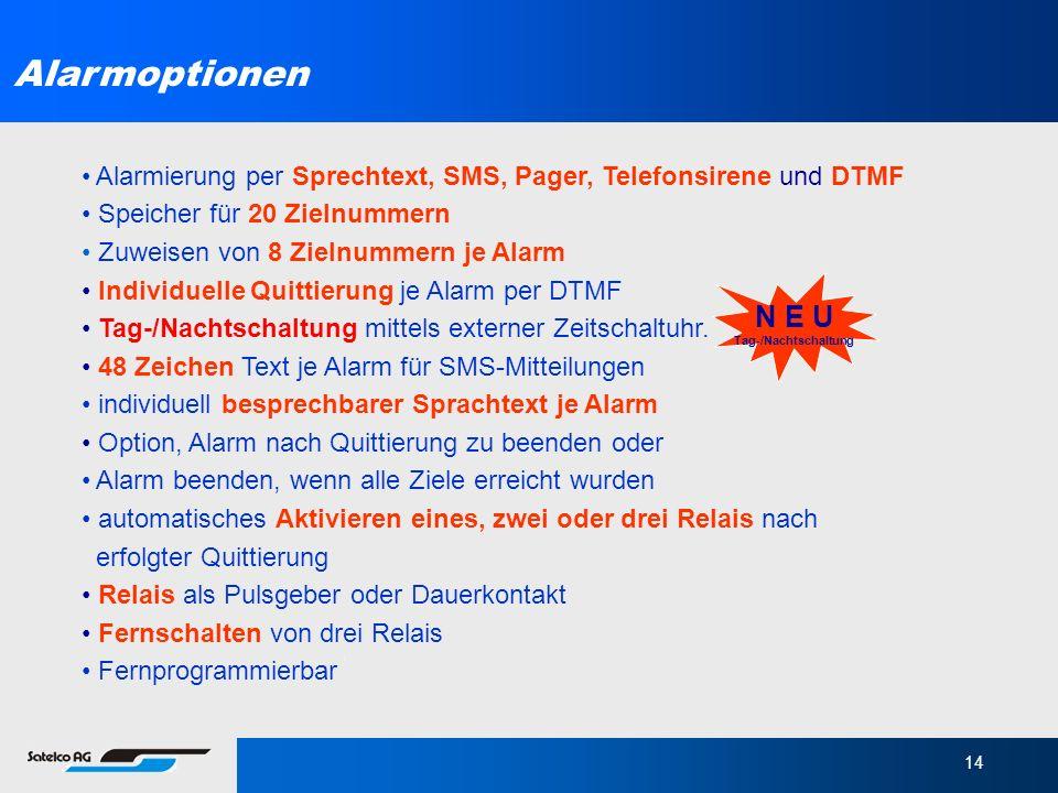 14 Alarmierung per Sprechtext, SMS, Pager, Telefonsirene und DTMF Speicher für 20 Zielnummern Zuweisen von 8 Zielnummern je Alarm Individuelle Quittie