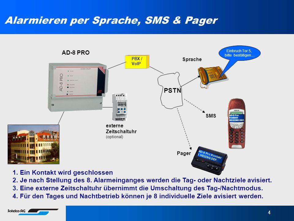4 Alarmieren per Sprache, SMS & Pager 1. Ein Kontakt wird geschlossen 2. Je nach Stellung des 8. Alarmeinganges werden die Tag- oder Nachtziele avisie