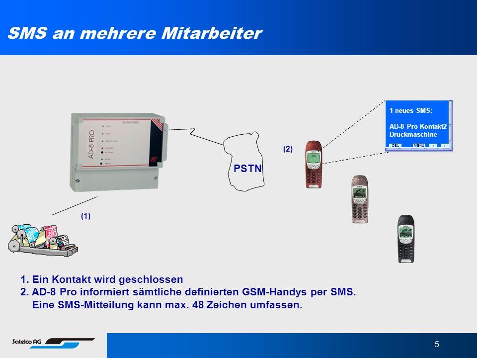 5 1. Ein Kontakt wird geschlossen 2. AD-8 Pro informiert sämtliche definierten GSM-Handys per SMS. Eine SMS-Mitteilung kann max. 48 Zeichen umfassen.