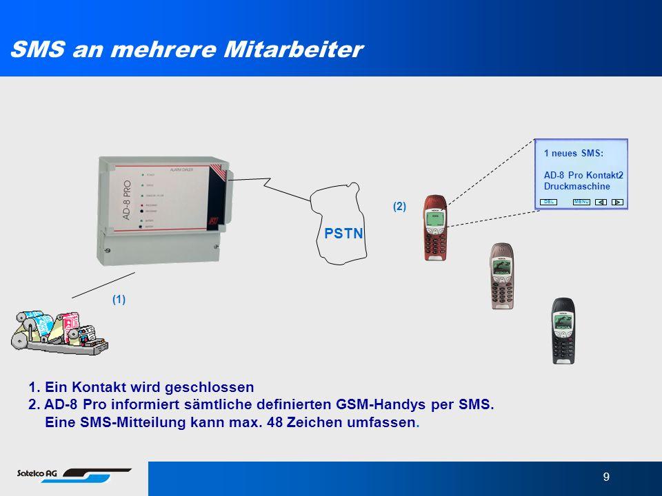 9 MENUDEL 1 neues SMS: AD-8 Pro Kontakt2 Druckmaschine 1. Ein Kontakt wird geschlossen 2. AD-8 Pro informiert sämtliche definierten GSM-Handys per SMS