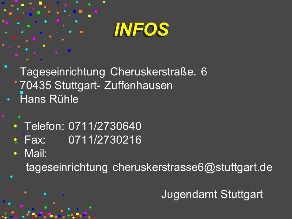 INFOS Tageseinrichtung Cheruskerstraße. 6 70435 Stuttgart- Zuffenhausen Hans Rühle Telefon: 0711/2730640 Fax: 0711/2730216 Mail: tageseinrichtung cher
