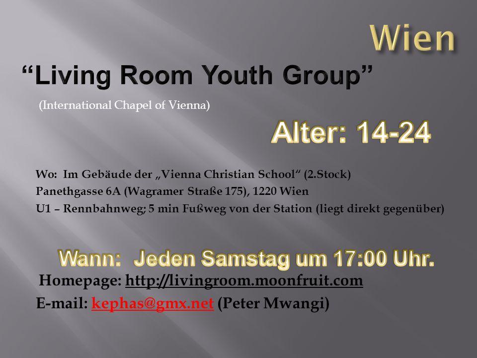 (International Chapel of Vienna) Wo: Im Gebäude der Vienna Christian School (2.Stock) Panethgasse 6A (Wagramer Straße 175), 1220 Wien U1 – Rennbahnweg