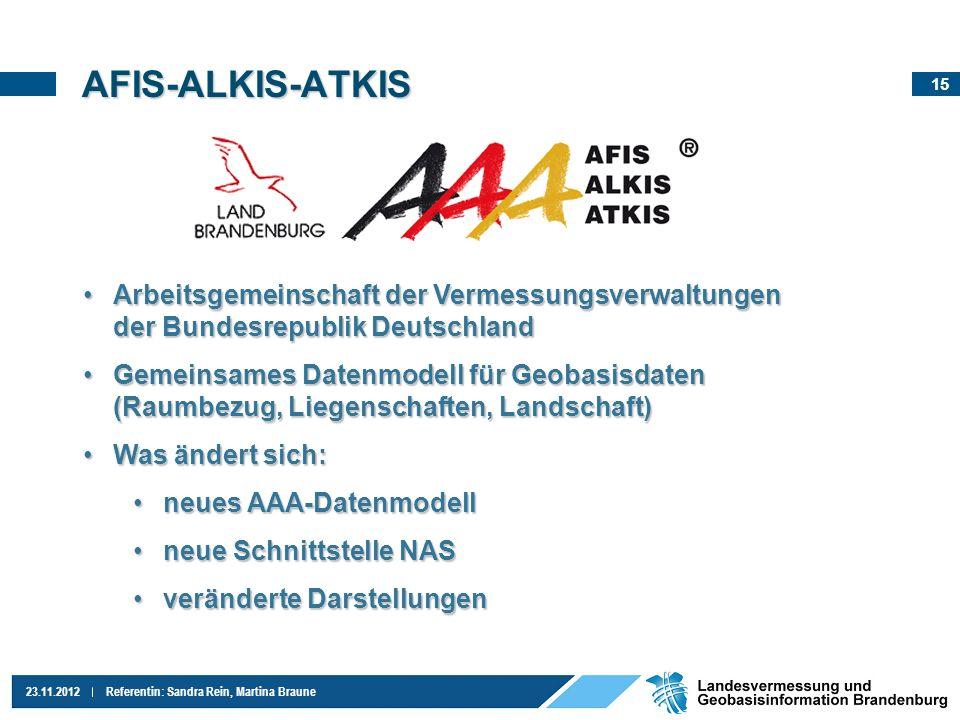 15 23.11.2012Referentin: Sandra Rein, Martina Braune AFIS-ALKIS-ATKIS Arbeitsgemeinschaft der Vermessungsverwaltungen der Bundesrepublik DeutschlandAr