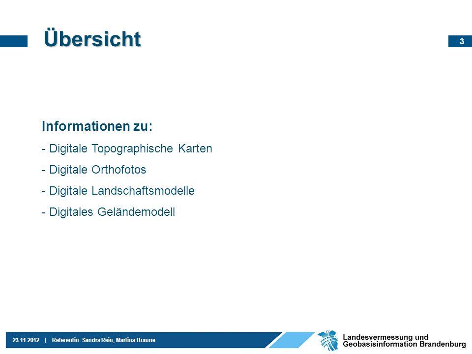 4 23.11.2012Referentin: Sandra Rein, Martina Braune Digitale Topographische Karten - DTK Verschiedene Maßstäbe: - 1 : 10.000 - 1 : 25.000 - 1 : 50.000 - 1 :100.000 Verschiedene Ausprägungen: - Ebenenkombination (Farbvariante) - Einzelebenen - Grautonvariante Koordinatensystem: - ETRS89, 6-stellig