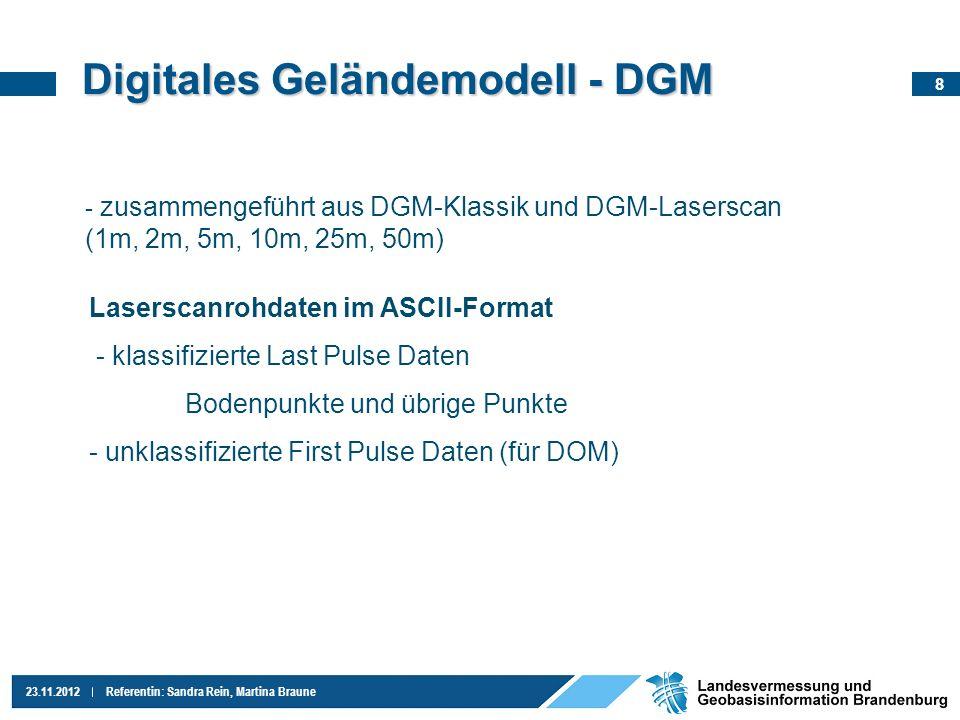 8 23.11.2012Referentin: Sandra Rein, Martina Braune Digitales Geländemodell - DGM - zusammengeführt aus DGM-Klassik und DGM-Laserscan (1m, 2m, 5m, 10m