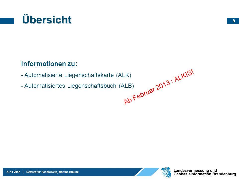 9 23.11.2012Referentin: Sandra Rein, Martina Braune Übersicht Informationen zu: - Automatisierte Liegenschaftskarte (ALK) - Automatisiertes Liegenscha