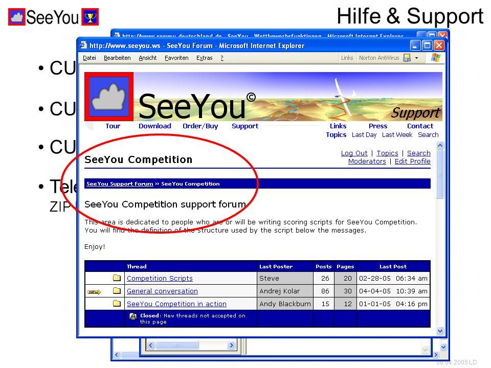 09.04.2005 LD Hilfe & Support CUC Hilfetexte (en) CUC Forum (en&de) Telefon- oder Email-Support ZIP Datei mit *.CUC und *.IGC des Tages schicken CUC Tour auf der Website (de)