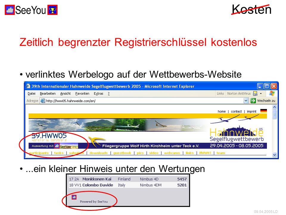 09.04.2005 LD Kosten Zusatzkosten für CUC verlinktes Werbelogo auf der Wettbewerbs-Website...ein kleiner Hinweis unter den Wertungen sondern keine Zeitlich begrenzter Registrierschlüssel kostenlos