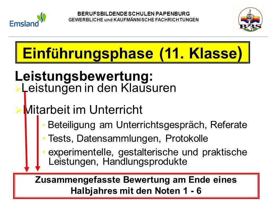 BERUFSBILDENDE SCHULEN PAPENBURG GEWERBLICHE und KAUFMÄNNISCHE FACHRICHTUNGEN Versetzungsregelung Einf ü hrungsphase Versetzungsregelung (nach BbS-VO): - alle Lernbereiche mindestens ausreichend - keine Note mangelhaft im 1.Prüfungsfach (BRC oder Technik oder Gesundheit-Pflege) - keine Note ungenügend - keine zwei Noten mangelhaft in Deutsch, Mathematik, Englisch sowie Naturwissenschaft ( nur FG Technik und FG Gesundheit)