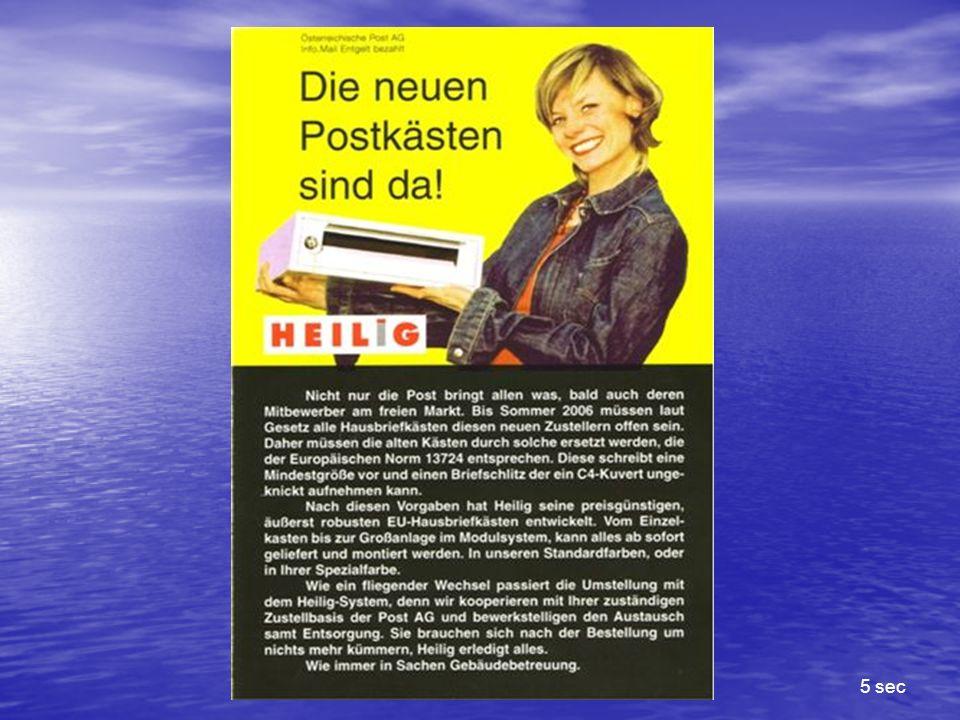 …wir sorgen dafür, dass Sie und und Ihr Postkasten darauf vorbereitet sind www.heilig.at.office@heilig.at Die Post bringt allen was, und alle bringen die Post Ihre Infozeile weiter in 4 sec