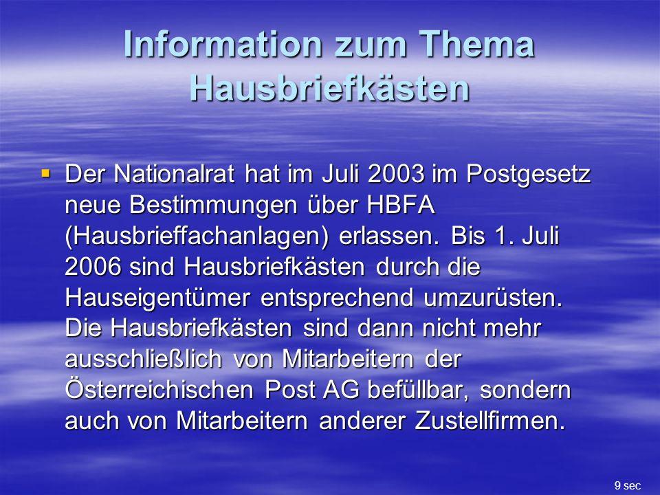 Information zum Thema Hausbriefkästen Der Nationalrat hat im Juli 2003 im Postgesetz neue Bestimmungen über HBFA (Hausbrieffachanlagen) erlassen.