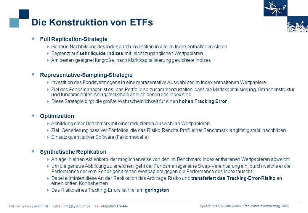 Lyxor ETFs 25. Juni 2008 5. Frankfurter Investmenttag 2008 Internet www.LyxorETF.de E-Mail Info@LyxorETF.de Tel +49(0)69/7174 444 Die Konstruktion von