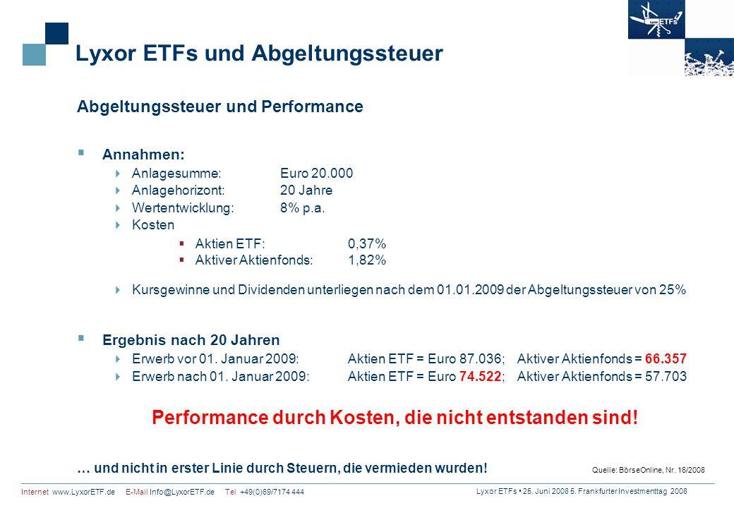 Lyxor ETFs 25. Juni 2008 5. Frankfurter Investmenttag 2008 Internet www.LyxorETF.de E-Mail Info@LyxorETF.de Tel +49(0)69/7174 444 Lyxor ETFs und Abgel