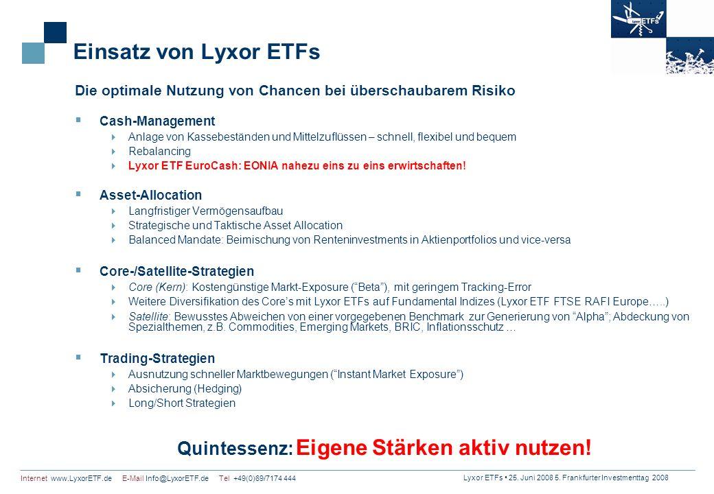 Lyxor ETFs 25. Juni 2008 5. Frankfurter Investmenttag 2008 Internet www.LyxorETF.de E-Mail Info@LyxorETF.de Tel +49(0)69/7174 444 Einsatz von Lyxor ET