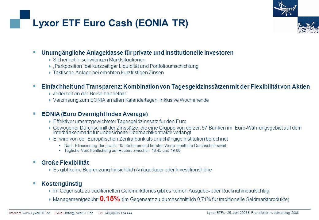 Lyxor ETFs 25. Juni 2008 5. Frankfurter Investmenttag 2008 Internet www.LyxorETF.de E-Mail Info@LyxorETF.de Tel +49(0)69/7174 444 Lyxor ETF Euro Cash