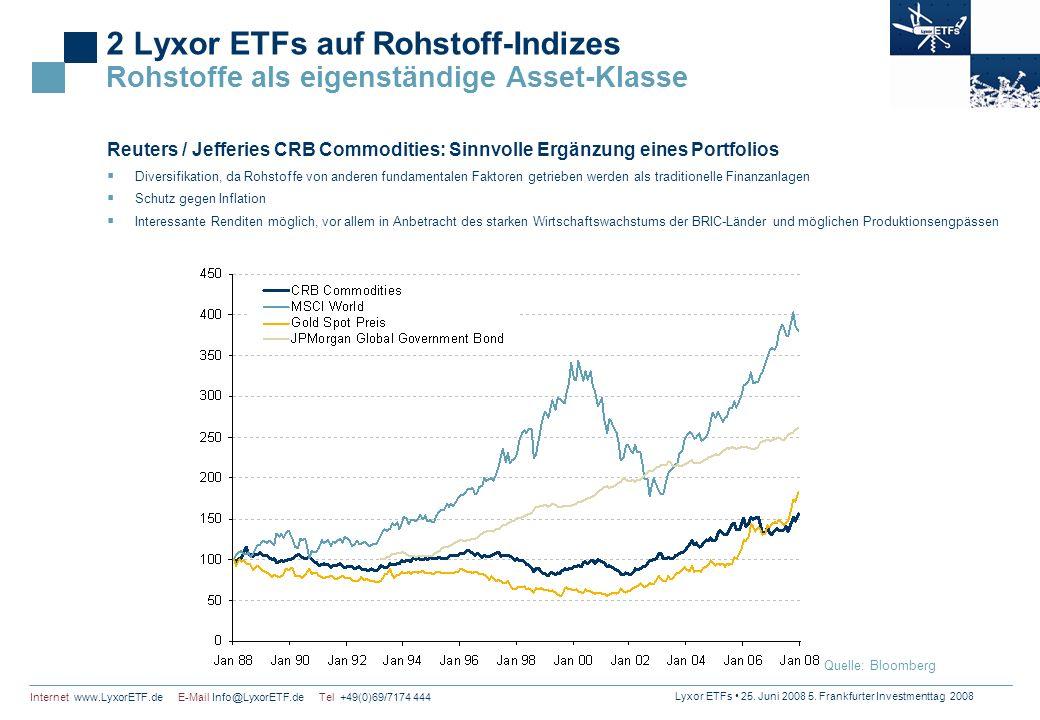 Lyxor ETFs 25. Juni 2008 5. Frankfurter Investmenttag 2008 Internet www.LyxorETF.de E-Mail Info@LyxorETF.de Tel +49(0)69/7174 444 2 Lyxor ETFs auf Roh