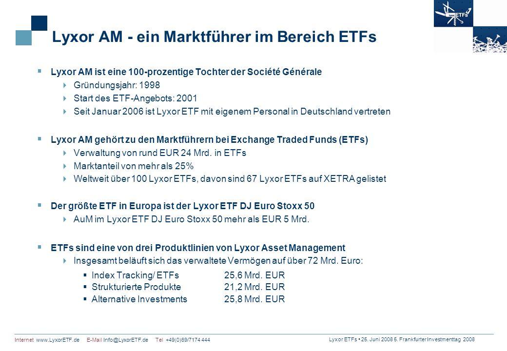 Lyxor ETFs 25. Juni 2008 5. Frankfurter Investmenttag 2008 Internet www.LyxorETF.de E-Mail Info@LyxorETF.de Tel +49(0)69/7174 444 Lyxor AM - ein Markt