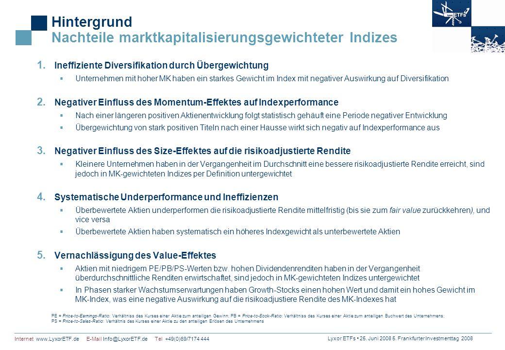 Lyxor ETFs 25. Juni 2008 5. Frankfurter Investmenttag 2008 Internet www.LyxorETF.de E-Mail Info@LyxorETF.de Tel +49(0)69/7174 444 Hintergrund Nachteil