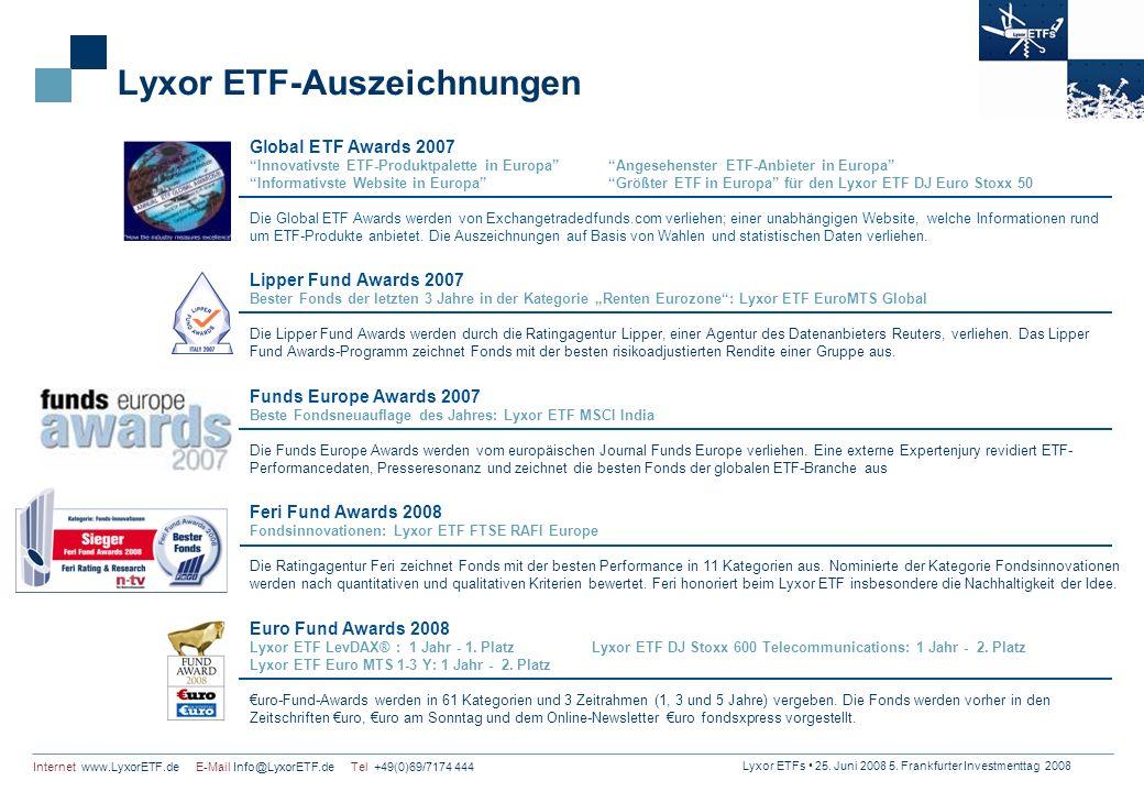 Lyxor ETFs 25. Juni 2008 5. Frankfurter Investmenttag 2008 Internet www.LyxorETF.de E-Mail Info@LyxorETF.de Tel +49(0)69/7174 444 Lyxor ETF-Auszeichnu