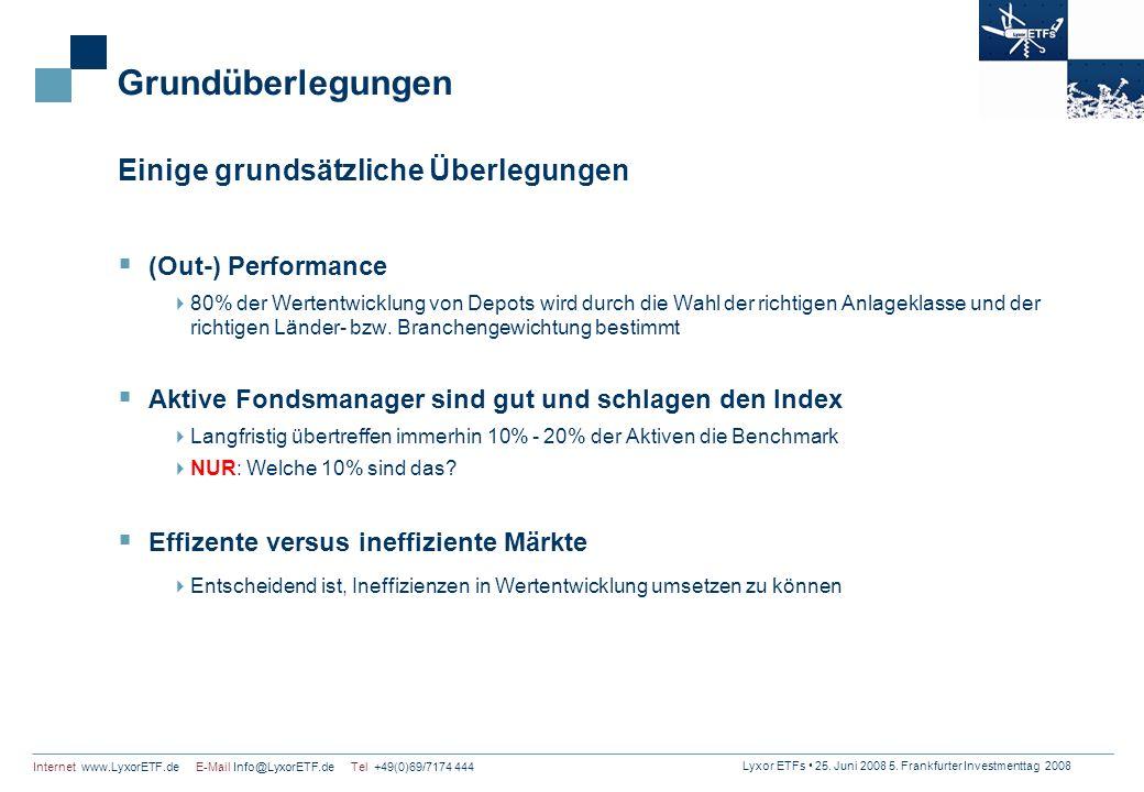 Lyxor ETFs 25. Juni 2008 5. Frankfurter Investmenttag 2008 Internet www.LyxorETF.de E-Mail Info@LyxorETF.de Tel +49(0)69/7174 444 Grundüberlegungen Ei