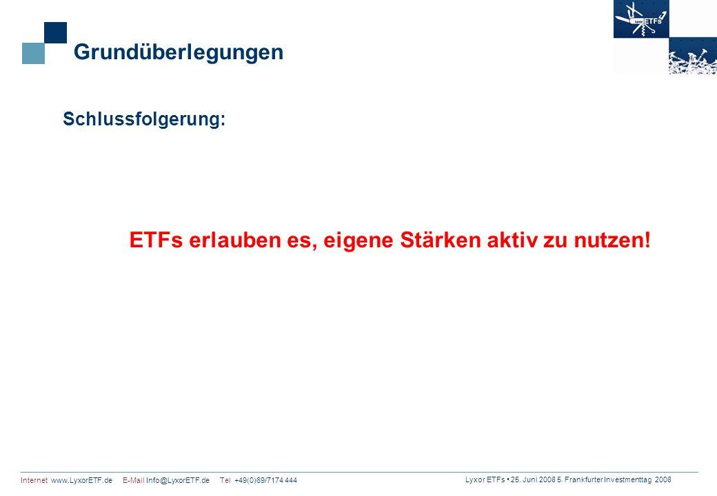 Lyxor ETFs 25. Juni 2008 5. Frankfurter Investmenttag 2008 Internet www.LyxorETF.de E-Mail Info@LyxorETF.de Tel +49(0)69/7174 444 Grundüberlegungen Sc