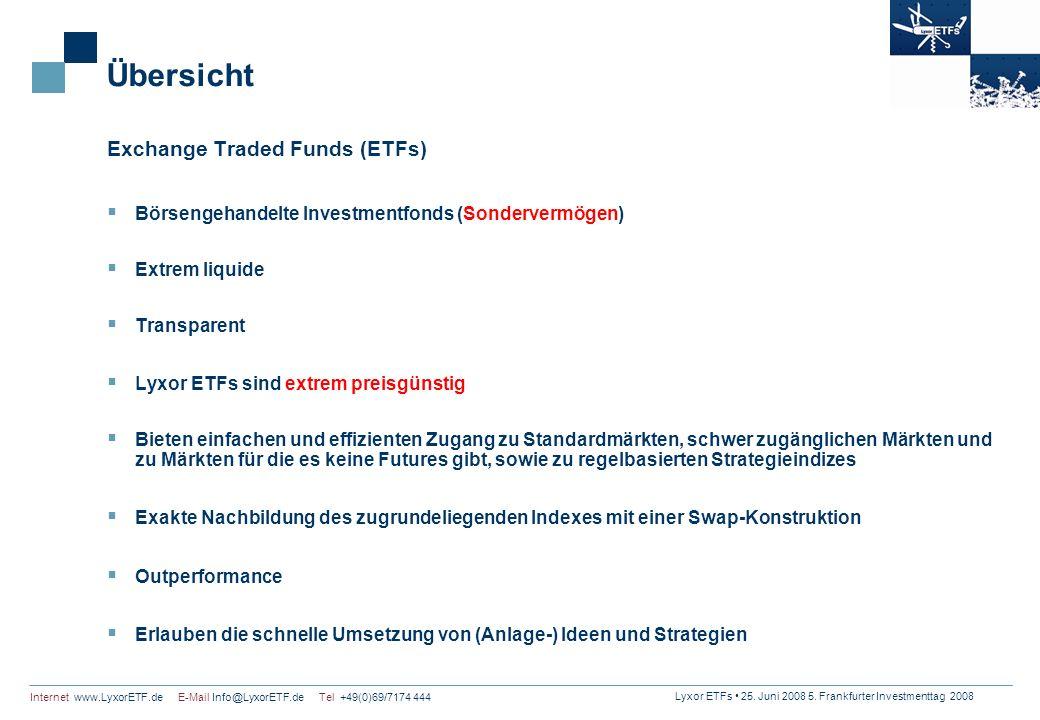 Lyxor ETFs 25. Juni 2008 5. Frankfurter Investmenttag 2008 Internet www.LyxorETF.de E-Mail Info@LyxorETF.de Tel +49(0)69/7174 444 Übersicht Exchange T
