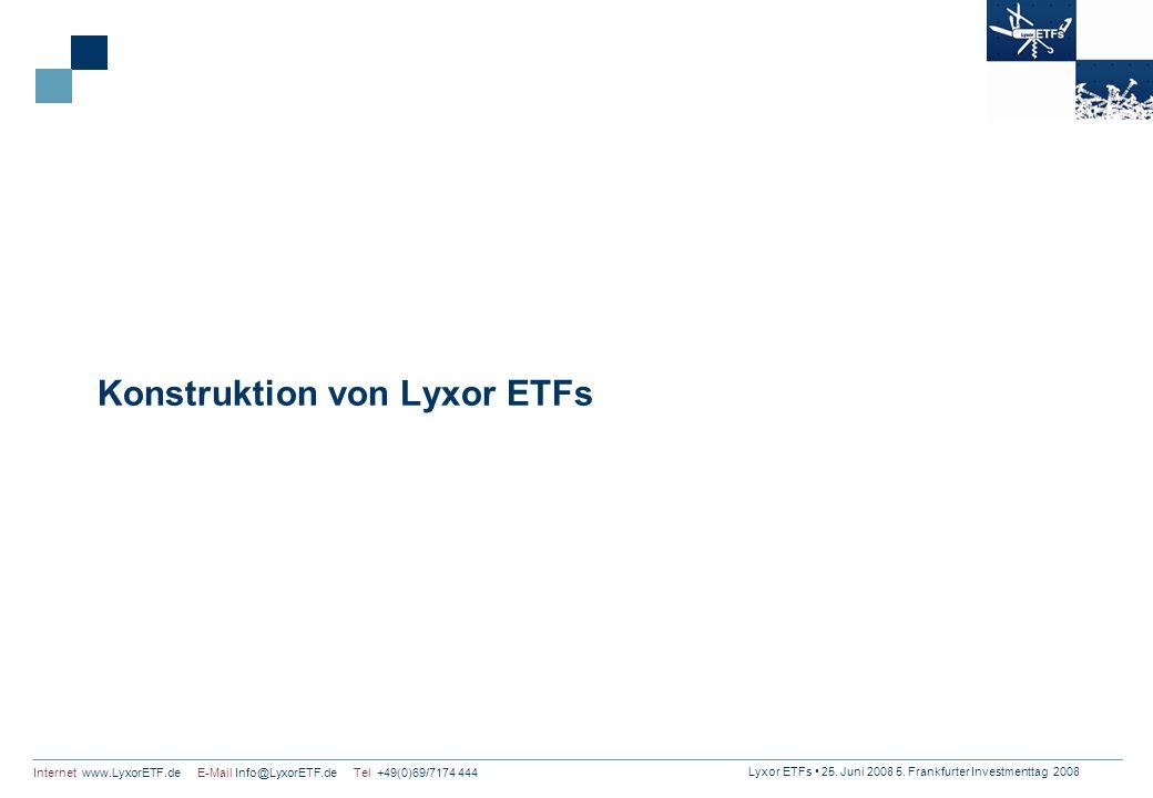 Lyxor ETFs 25. Juni 2008 5. Frankfurter Investmenttag 2008 Internet www.LyxorETF.de E-Mail Info@LyxorETF.de Tel +49(0)69/7174 444 Konstruktion von Lyx