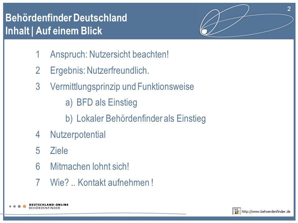 2 Behördenfinder Deutschland Inhalt | Auf einem Blick 1Anspruch: Nutzersicht beachten.