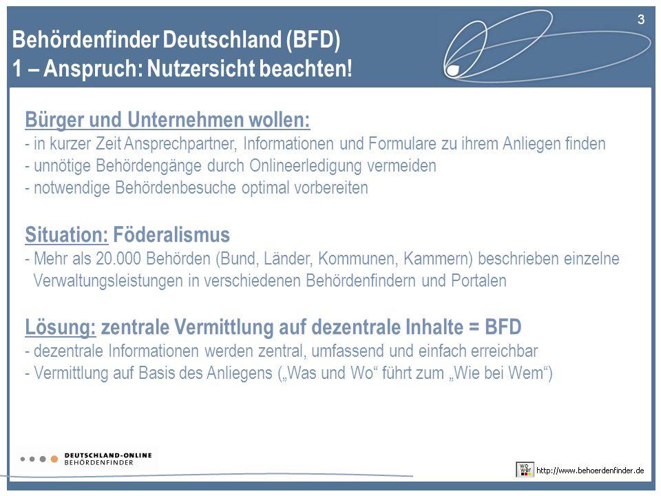 3 Behördenfinder Deutschland (BFD) 1 – Anspruch: Nutzersicht beachten.