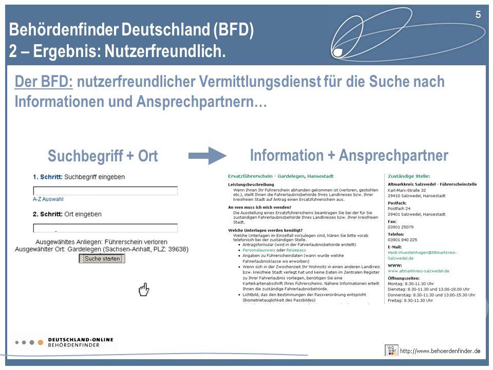5 Behördenfinder Deutschland (BFD) 2 – Ergebnis: Nutzerfreundlich.