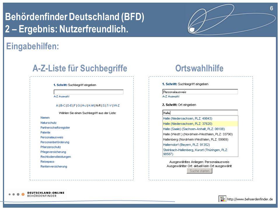 6 Behördenfinder Deutschland (BFD) 2 – Ergebnis: Nutzerfreundlich.