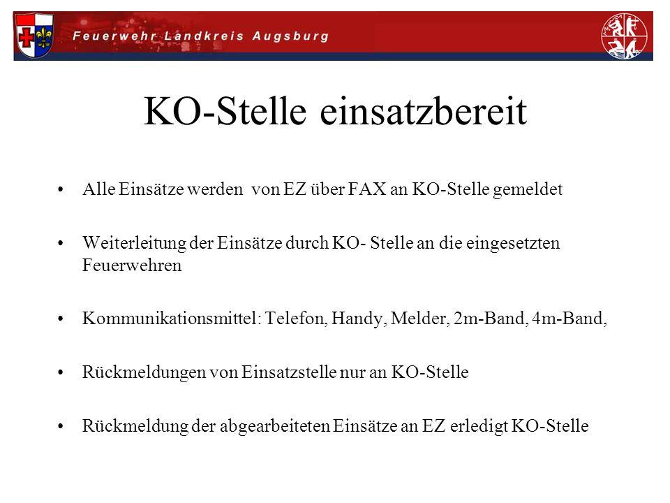 KO-Stelle einsatzbereit Alle Einsätze werden von EZ über FAX an KO-Stelle gemeldet Weiterleitung der Einsätze durch KO- Stelle an die eingesetzten Feu