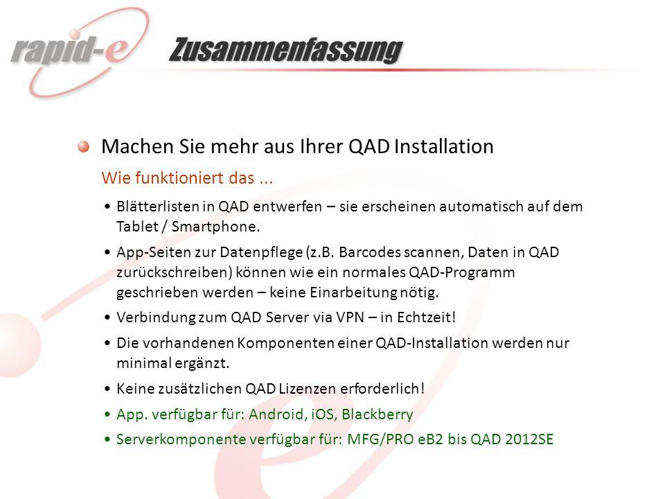 Machen Sie mehr aus Ihrer QAD Installation Blätterlisten in QAD entwerfen – sie erscheinen automatisch auf dem Tablet / Smartphone.
